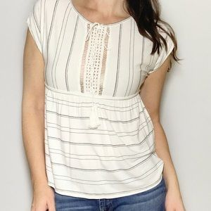 Striped Boho Top Chelsea & Violet Tie Front New